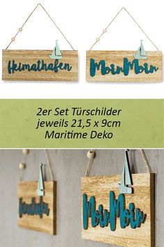 2er Set Türschilder Türhänger Holz 21,5x9cm Moin Moin Heimathafen Maritim  Schild
