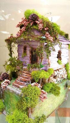 Faerie House ☽☯☾magickbohemian - Home And Garden Fairy Village, Fairy Tree, Fairy Garden Houses, Gnome Garden, Fairy Gardening, Fairy Crafts, Fairy Garden Accessories, Fairy Doors, Miniature Fairy Gardens