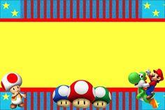 Super Mario Bros – Kit Completo com molduras para convites, rótulos para guloseimas, lembrancinhas e imagens! | Fazendo a Nossa Festa Super Mario Bros, Super Mario Birthday, Free Printable Cards, Free Printable Invitations, Party Printables, Party Invitations, Mario Y Luigi, Theme Background, Mario Brothers