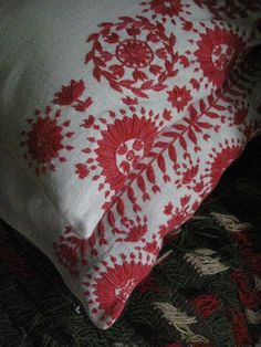 embroidery from Hälsingland in Sweden on pillow...