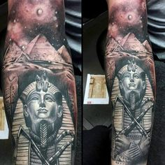 60 King Tut Tattoo Designs For Men - Egyptian Ink Ideas Mens Full Sleeve Tattoo Of King Tut With Ancient Egyptian Pyramids Mens Full Sleeve Tattoo, Egyptian Tattoo Sleeve, Best Sleeve Tattoos, Tattoo Sleeves, Bild Tattoos, Dope Tattoos, Body Art Tattoos, Tattoos For Guys, Mens Tattoos