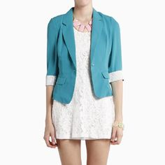 I'm loving bright colored, slim fit blazers. I just ordered this off of DailyLook.com - http://www.DailyLook.com/?refMemberID=399944947447536106