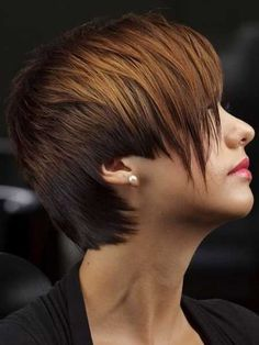 Best Hair Colors for Short Hair. I don't like the hole by the ear but I love the length and texture