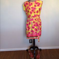 LOFT floral dress w/self belt  Worn once  Please ask for additional pictures, measurements, or ask questions before purchase.  No trades or other apps  Ships next business day, unless noted in my closet   Bundle for discount LOFT Dresses Mini