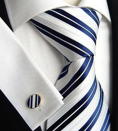 Blue and White Stripe Tie and Cuff Links
