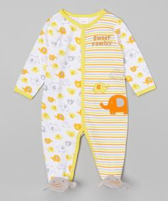 Yellow 'Sweet Family' Footie - Infant by Buster Brown #zulily #zulilyfinds
