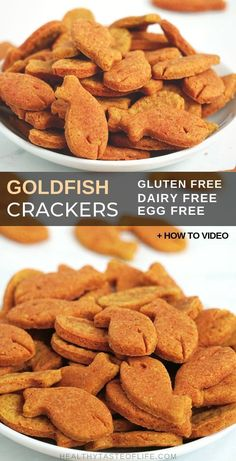 Gluten Free Goldfish Crackers Recipe (Dairy free, Vegan) – a healthy homemade snack for kids, great on the go or as a school snack. How-to Video + Low carb version available. These gluten free goldfish crackers are also sugar free and nut free. Dairy Free Recipes For Kids, Best Gluten Free Recipes, Vegan Gluten Free, Real Food Recipes, Sugar Free Snacks, Dairy Free Snacks, Gluten Free Crackers, Vegan Crackers, Healthy Homemade Snacks