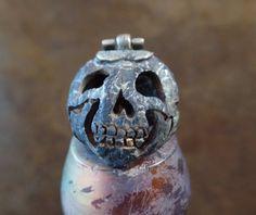 RARE Vintage Lou Zeldis Skull Pendant 22k Gold by AquaTerraBazaar