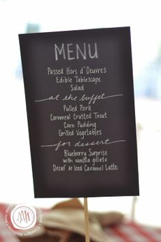 Chalkboard style menu made with black card stock and chalk markers! #Farm To Table #Rehearsal Dinner by #MargotMadison