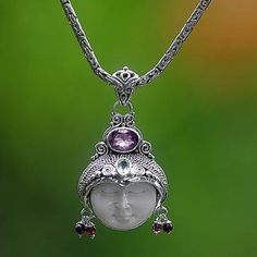 Amethyst and garnet necklace, 'Dreamer' - Unique Women's Sterling Silver and Amethyst Necklace