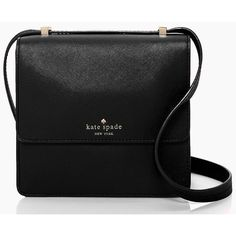 kate spade new york Mikas Pond Nico ($138) ❤ liked on Polyvore featuring bags, handbags, shoulder bags, purses, black, black leather handbags, cross shoulder bag, kate spade crossbody, leather crossbody handbags and cross body shoulder bags