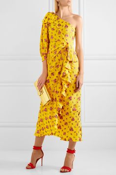 Gucci | One-shoulder metallic silk-blend jacquard midi dress | NET-A-PORTER.COM