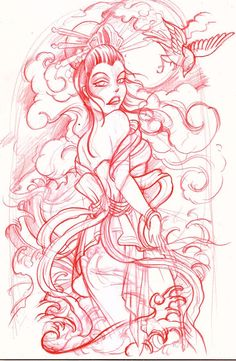 geisha sketch by mojoncio on DeviantArt