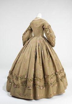 Afternoon dress Date: ca. 1862 Culture: American Medium: silk, cotton, wool