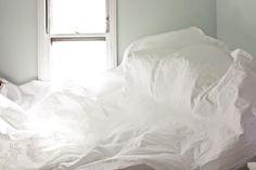 bed: crisp, crisp sheets on a sunny day