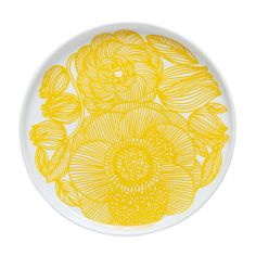 The lovely Kurjenpolvi plate from Marimekko is a classic plate with a floral explosion! In Finnish, Plates And Bowls, Salad Plates, Classic Plates, Small Kitchen Layouts, Kitchen Ideas, Marimekko Fabric, Yellow Plates, Clean Plates, Scandinavian Interior Design