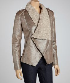 Take a look at this Gray Faux Fur Jacket by Fantazia on #zulily today! $64 !!