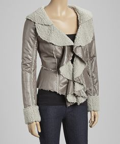 Look at this Ryu Gray Faux Shearling Ruffle Jacket on #zulily today!