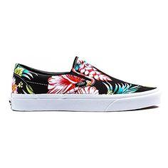 vans classic slip on shoes palm print white
