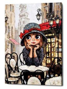Art And Illustration, Art Pop, Decoupage Vintage, Coffee Art, Whimsical Art, Cute Art, Canvas Wall Art, Art Drawings, Street Art