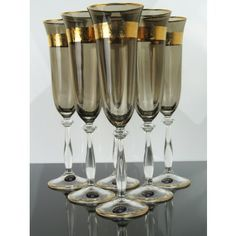 Beautiful! Set Of 6 Luxury Tall Bohemian Champagne Flutes Wine Liqueur Glasses Limited Ed