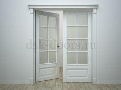 Межкомнатная  белая межкомнатная двустворчатая  дверь 4P/8LR/PARI