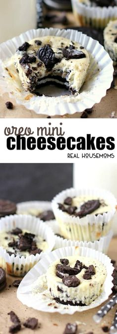 Oreo Mini Cheesecakes are a creamy and delicious dessert that's surprisingly.Oreo Mini Cheesecakes are a creamy and delicious dessert that's surprisingly easy to make! How can you go wrong with Oreos and cheesecake in the same bite? Mini Desserts, Easy Desserts, Delicious Desserts, Dessert Recipes, Yummy Food, Mini Cheesecakes With Oreos, Oreo Desserts, Oreo Dessert Easy, Individual Desserts