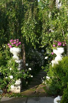 white flower filled planters / urns at garden entrance
