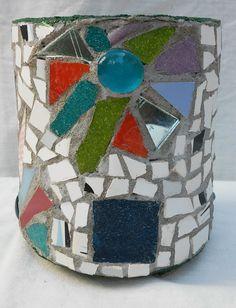 Flowerpot decorated with mosaic technique Flower Pots, Flowers, Mosaics, Snow Globes, Cuff Bracelets, Planter Pots, Workshop, Container, Painting
