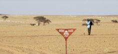 Un experto en desminado de las Naciones Unidas trabaja en un campo de minas en Mijek, Sahara Occidental.