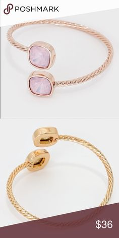 NWT twisted gold bracelet with Opal ends This is a yellow gold finished twisted metal bracelet with a soft colored stone like Opals. Farha  Jewelry Bracelets