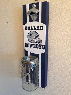 DALLAS COWBOYS Bottle Opener with Mason Jar Rustic Football TEXAS Dallas Cowboys - pinned by pin4etsy.com