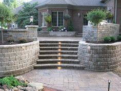 Retaining walls and steps.