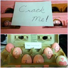 7 eggs for 7 months each with a cute love note inside! Got the idea off pinterest and modeled it to my needs (: so excited to give it to him!!