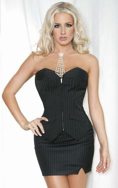 Plus Size Corset Sets pinstripe corset and skirt set  Best for small shoulders, flat middle and wide hips