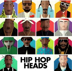 If It's Hip, It's Here: Hip Hop Heads. 14 Fabulous Illustrated Portraits by Dale Edwin Murray.
