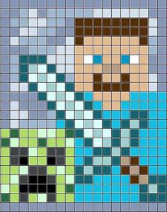 Minecraft Crochet Blanket Steve and a by Minecraft Blanket, Minecraft Quilt, Minecraft Crochet, Minecraft Pixel Art, Minecraft Crafts, Minecraft Bedroom, Pixel Crochet Blanket, C2c Crochet, Crochet Chart