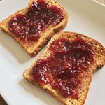 Dessert.  Because, as far as we're concerned, that's what toast with raspberry jam is. Yum! Who's with us? Ezekiel bread and jam ftw! #hclf #carbs #jam #carbsfordays #eatcarbs #toast #ezekielbread