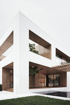 Maison bois toit terrasse, avec ses 2 matériaux de finition pour le contraste http://www.edifit.fr #maison #toit #plat #terrasse #aménagement #jardin #ToitPlat #ToitTerrasse #ToitTerrasseAménagement #ToitTerrasseMaison #MaisonToitPlat #MaisonToitTerrasse