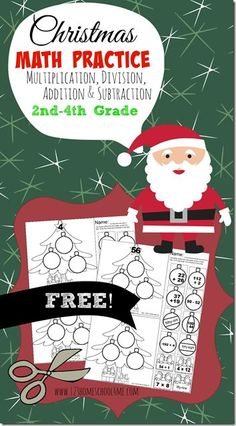 FREE Math Worksheets: Christmas Cut & Paste math practice for December to help kids practice addition, subtraction, multiplication, and division for 2nd grade, 3rd grade, 4th grade, and 5th grade kids. (math, math worksheets, homeschool, Christmas activity for kids)
