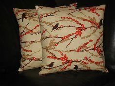 "Pillows Decorative Pillows Tangerine, Ivory Sparrows 20x20 inch Throw Pillow Covers orange 20"" Joel Dewberry Aviary 2. $35.00, via Etsy."