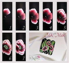 one stroke fleurs roses by Paula Gonzaletti Uñas One Stroke, One Stroke Nails, One Stroke Painting, Tole Painting, Rose Nail Art, Rose Nails, Flower Nail Art, Nail Art Modele, Donna Dewberry Painting