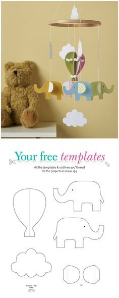 Make a charming baby mobile for the nursery using our free templates!
