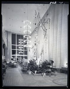 Stix, Baer, and Fuller Christmas displays, probably at Westroads Shopping Center at the corner of Brentwood road and Clayton Road. | collections.mohistory.org