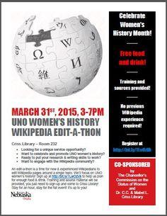 UNO Women's History Wikipedia Edit-a-thon - 3/31/15 3-7p.m.