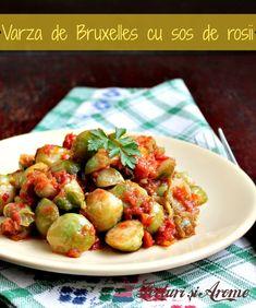 Varza de Bruxelles cu sos de rosii - Lecturi si Arome Sprouts, Potato Salad, Potatoes, Cooking Recipes, Vegetables, Ethnic Recipes, Food, Brussels, Salads