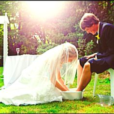 I think this is really beautiful! Wish I would have thought of it for my wedding. Showing the wife's submission to her husband! I think it would be awesome to wash each others feet at a wedding or renewal ceremony.