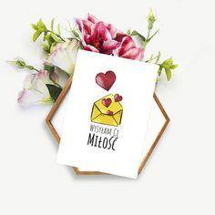 kartka okolicznościowa / kartka walentynkowa z motywem serduszek  Walentynki