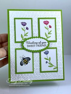 Stampin' Up! Honey Bee - Stamping With Tracy - - Today's card features the stamp set, Honey Bee and the Stitched Rectangles Dies. Achieve multiple colors when stamping using Stampin' Write Markers. Handmade Greetings, Greeting Cards Handmade, Simple Handmade Cards, Tarjetas Stampin Up, Handmade Stamps, Handmade Bookmarks, Bee Cards, Fun Fold Cards, Embossed Cards