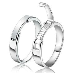 Personalized engraving..Love! New Korean Style Love Theme 925 Sterling Silver Lovers Rings (Price For a Pair) - USD $53.95